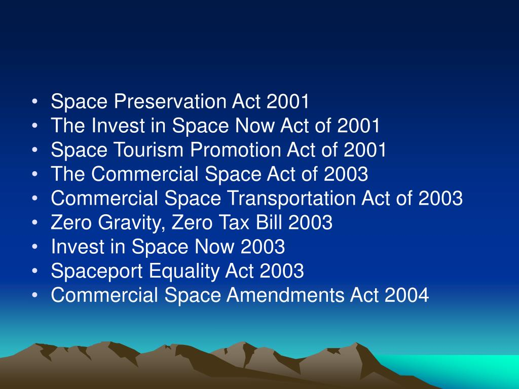 Space Preservation Act 2001