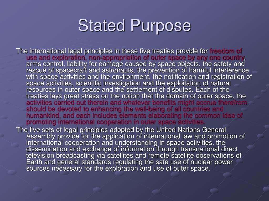 Stated Purpose