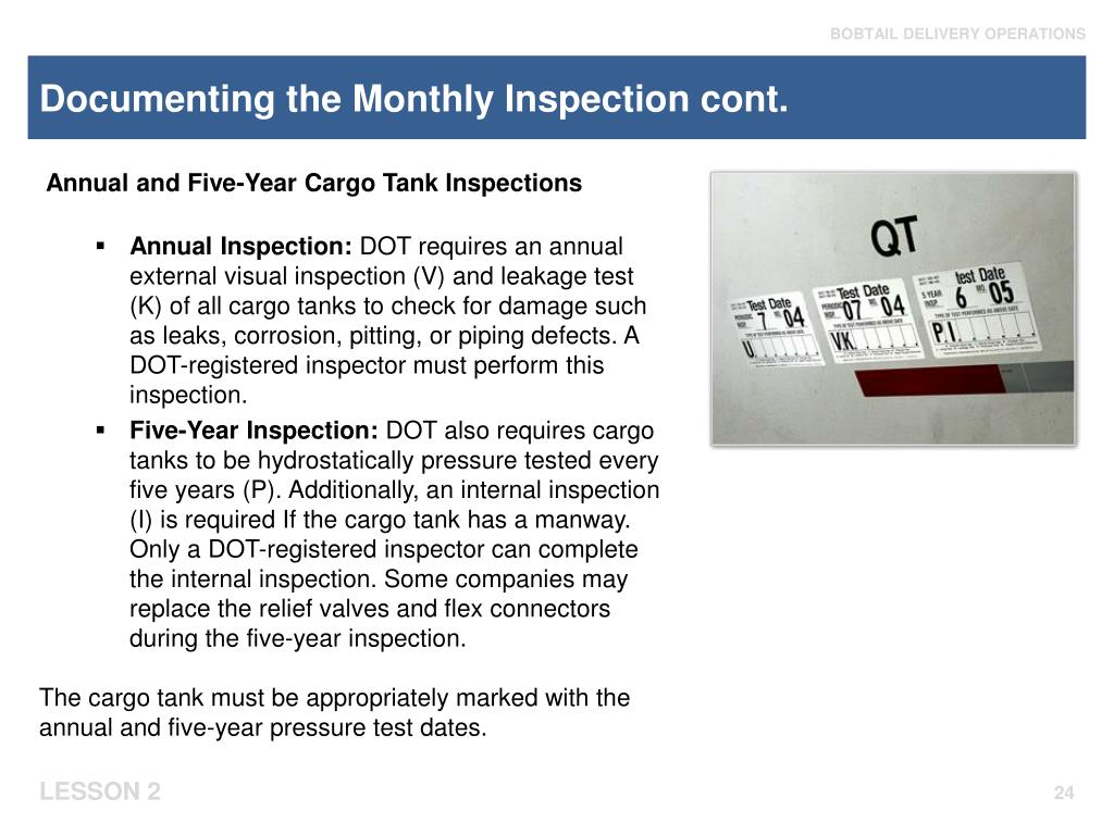 Documenting the Monthly Inspection cont.