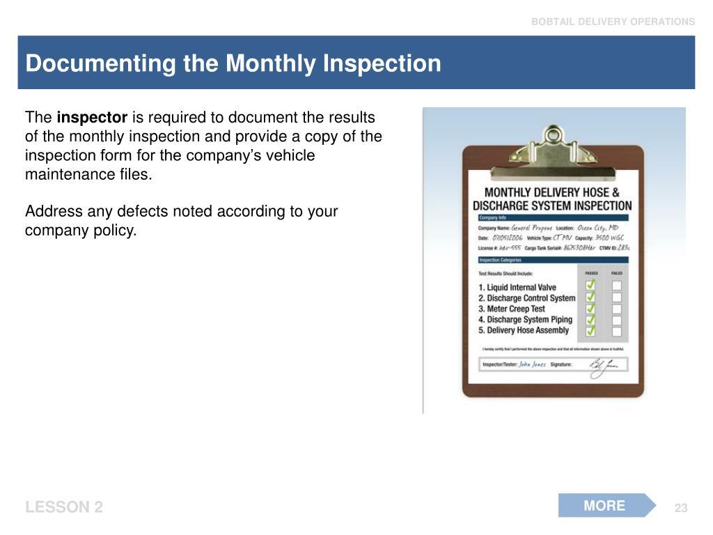 Documenting the Monthly Inspection