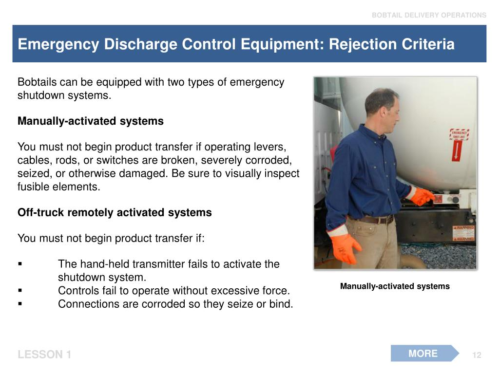 Emergency Discharge Control Equipment: Rejection Criteria