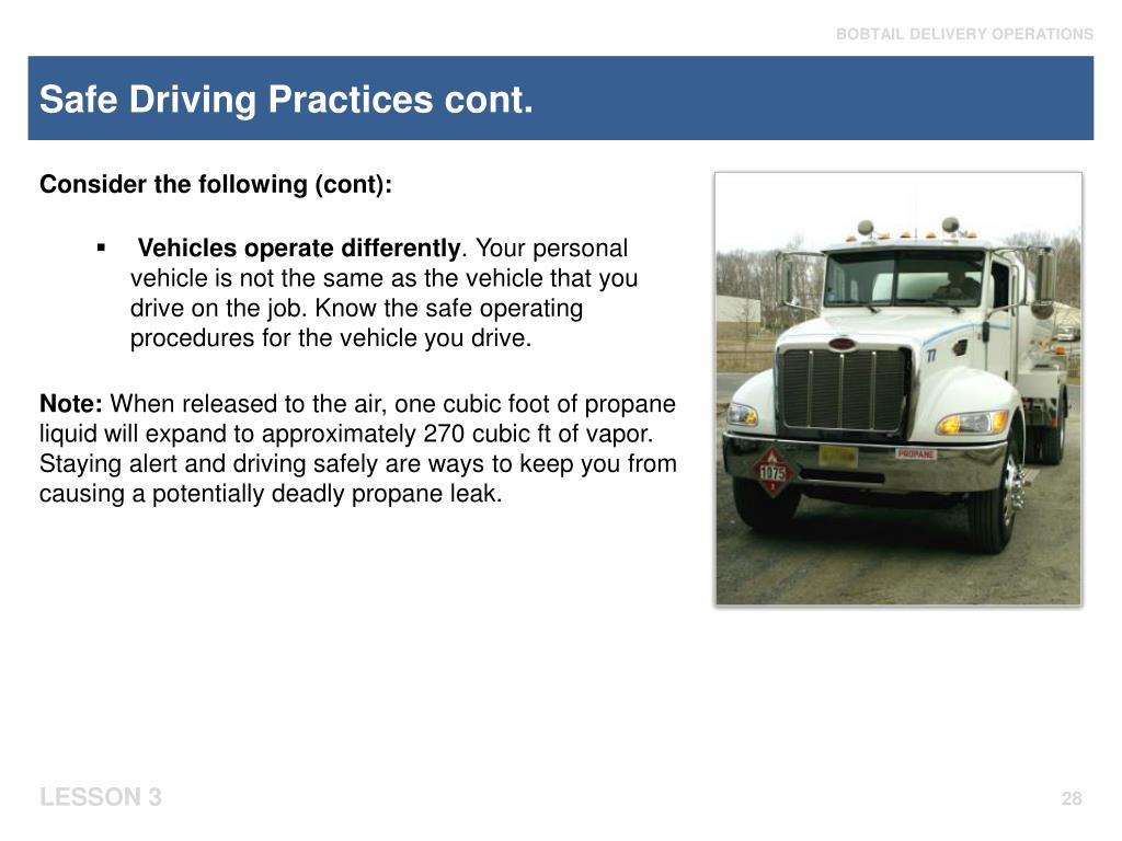 Safe Driving Practices cont.