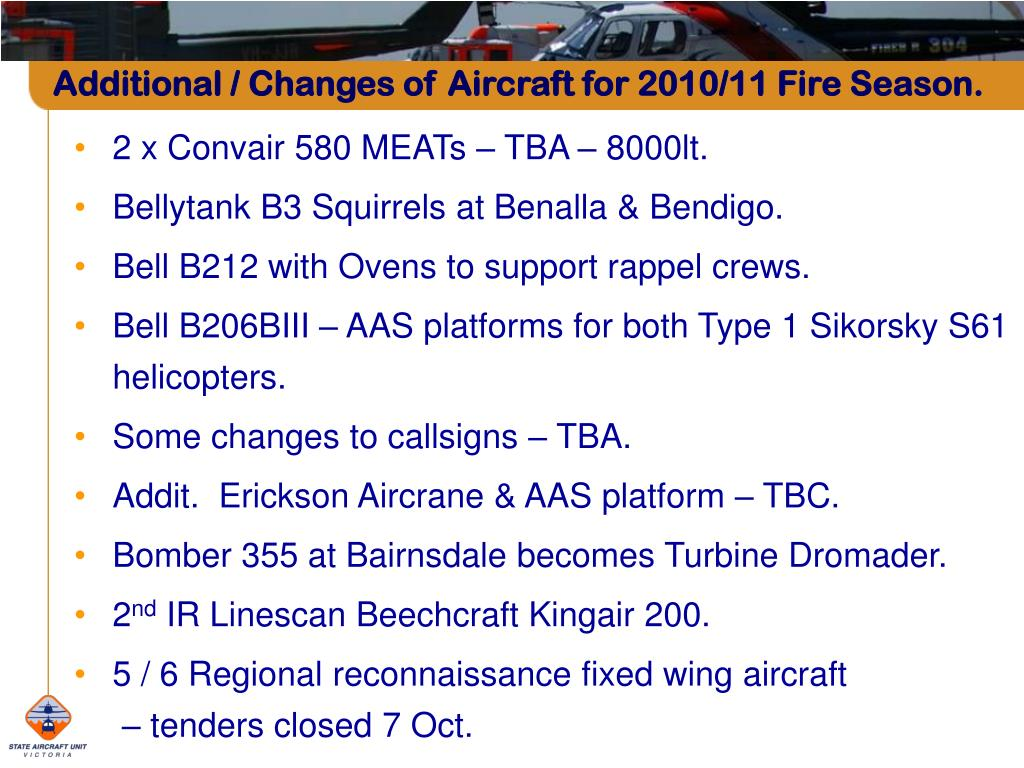 Additional / Changes of Aircraft for 2010/11 Fire Season.