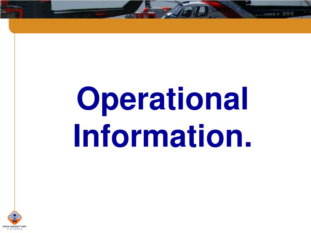 Operational Information.