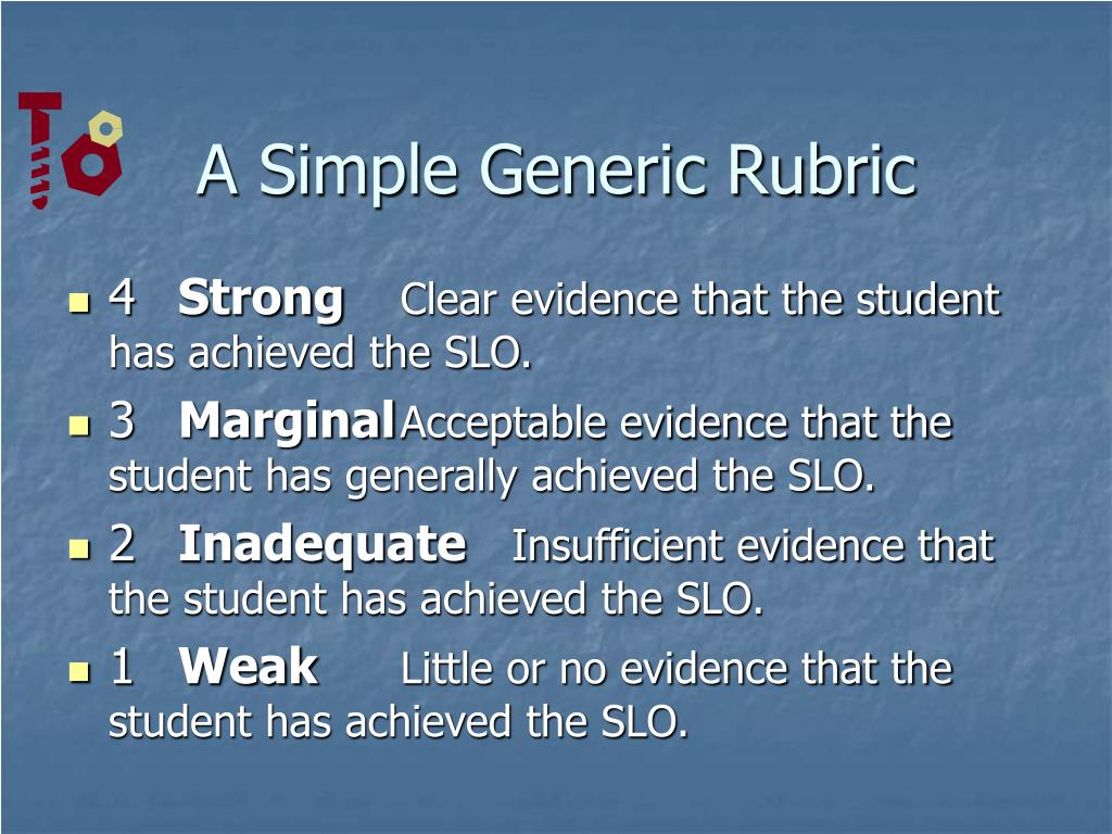 A Simple Generic Rubric