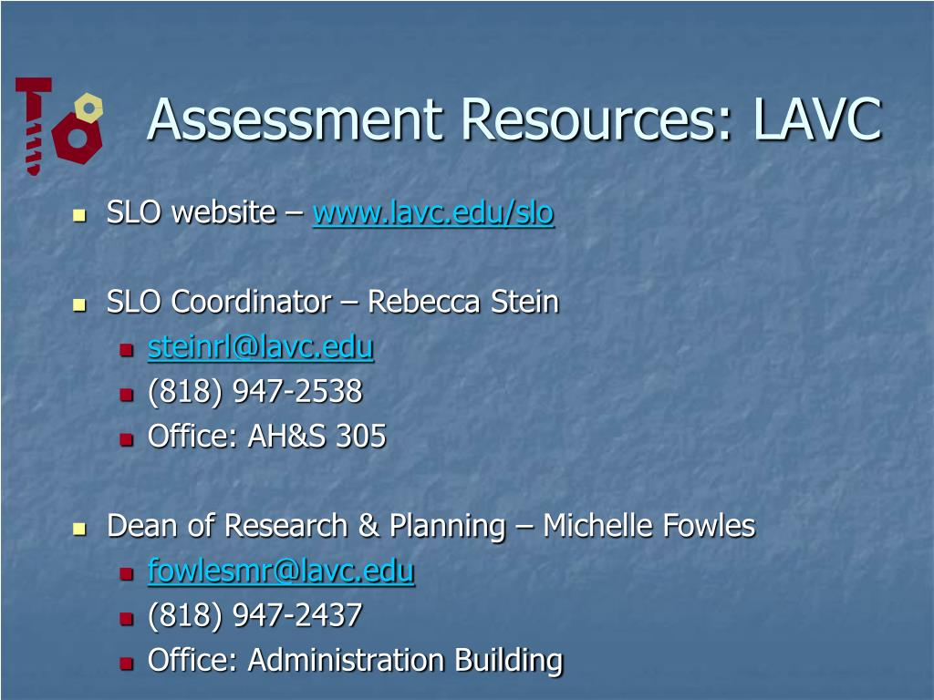 Assessment Resources: LAVC