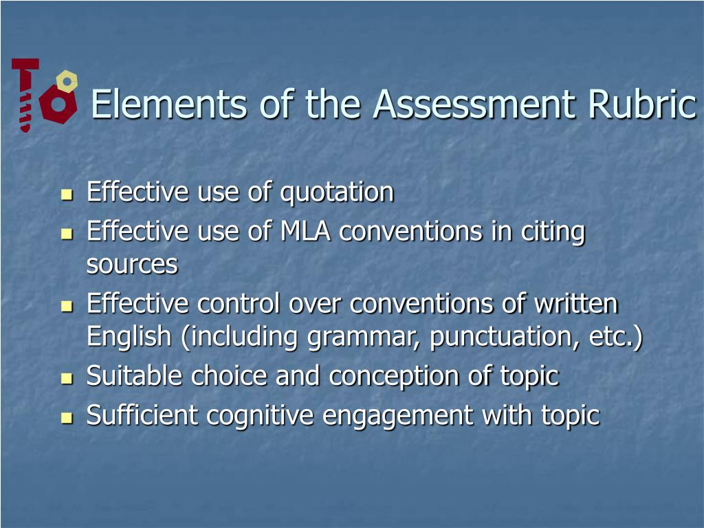 Elements of the Assessment Rubric