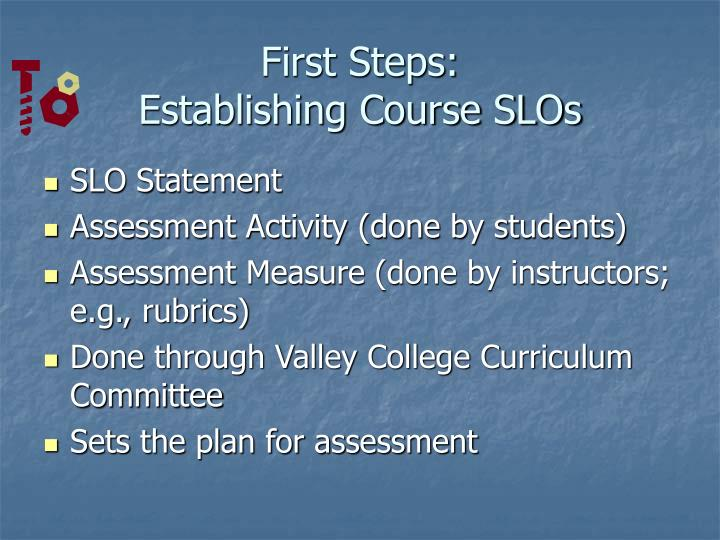 First steps establishing course slos