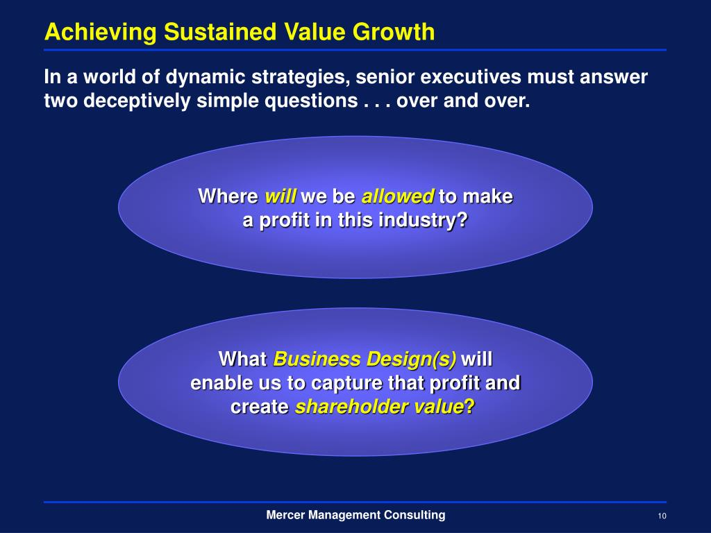 Achieving Sustained Value Growth