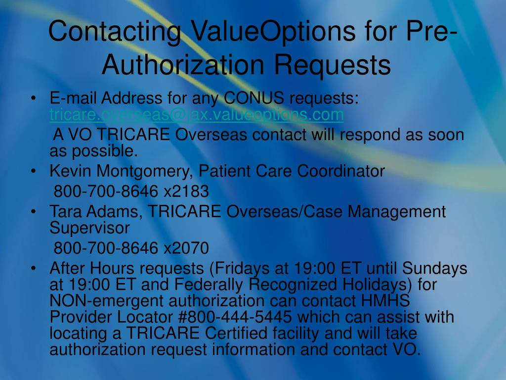 Contacting ValueOptions for Pre-Authorization Requests