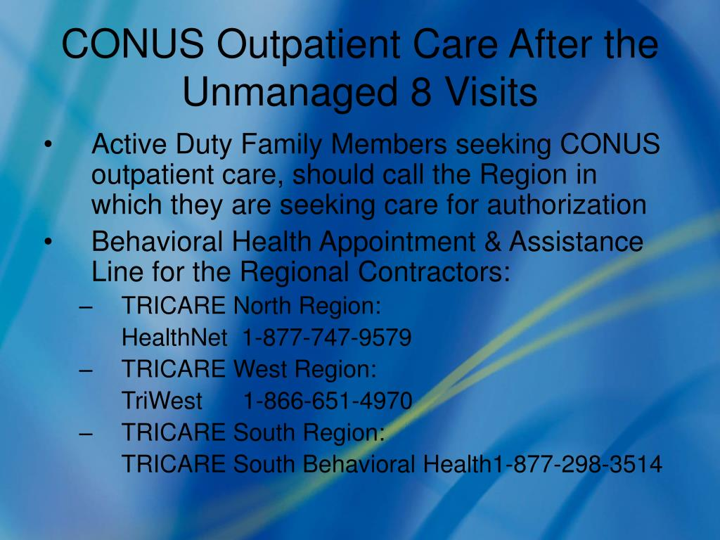 CONUS Outpatient Care After the Unmanaged 8 Visits