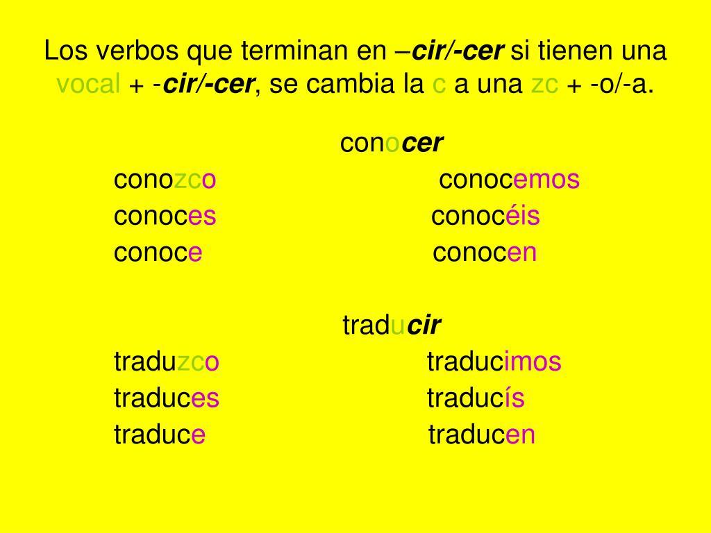 Los verbos que terminan en –