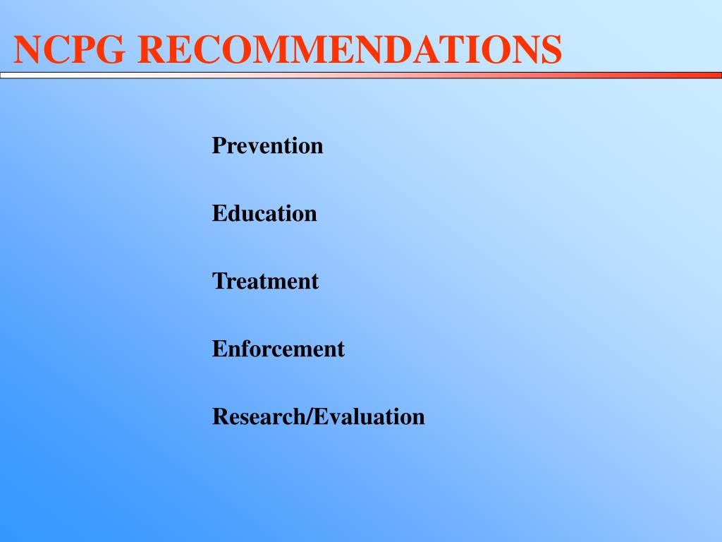NCPG RECOMMENDATIONS