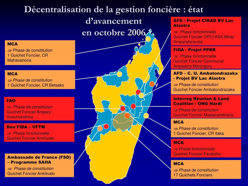 Décentralisation de la gestion foncière : état d'avancement
