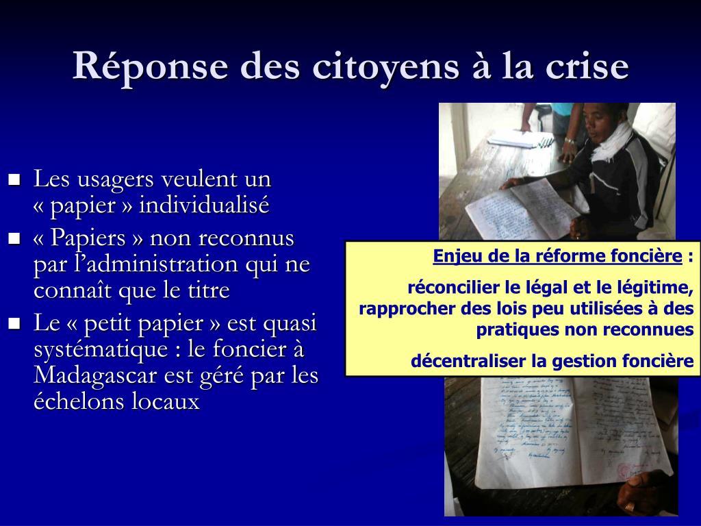 Réponse des citoyens à la crise