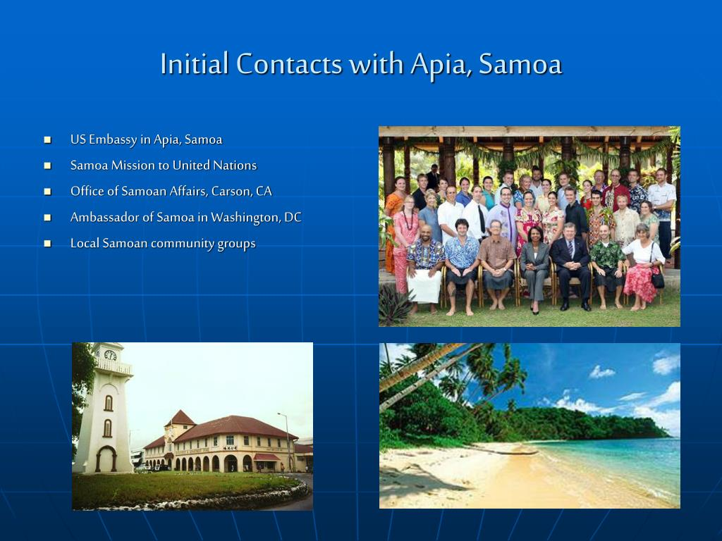 Initial Contacts with Apia, Samoa