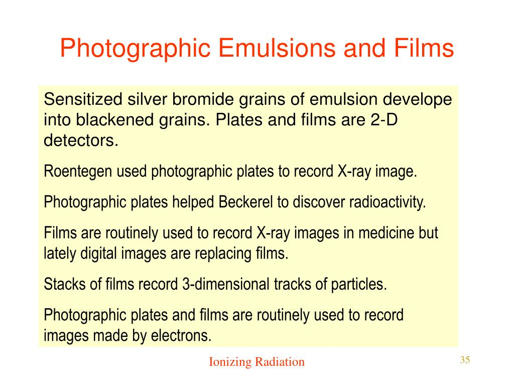 Photographic Emulsions and Films