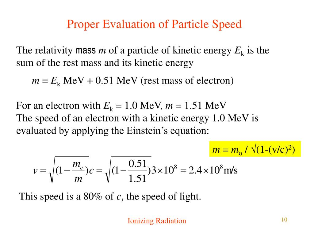 Proper Evaluation of Particle Speed