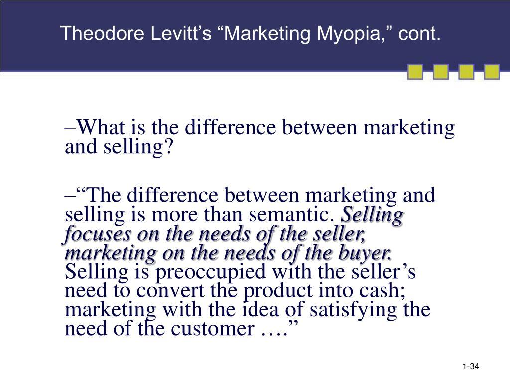 "Theodore Levitt's ""Marketing Myopia,"" cont."