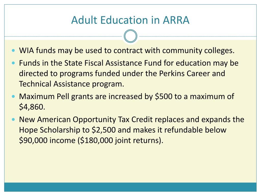 Adult Education in ARRA