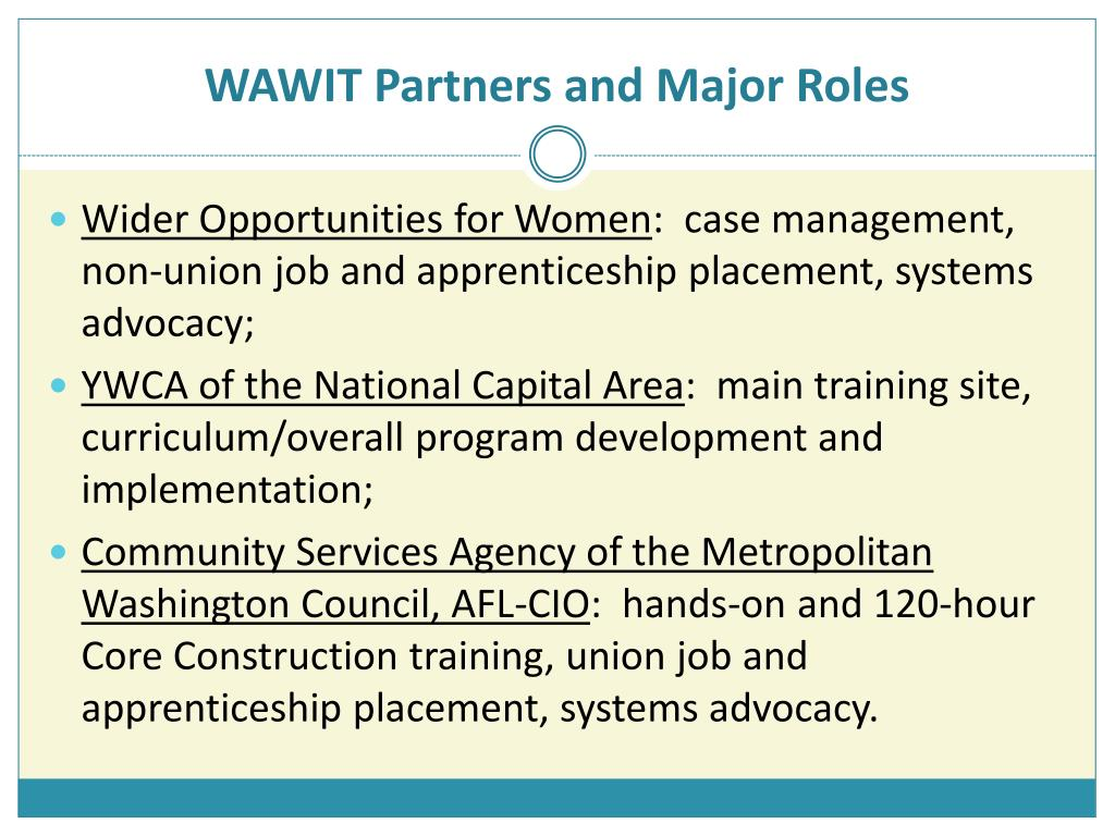 WAWIT Partners and Major Roles