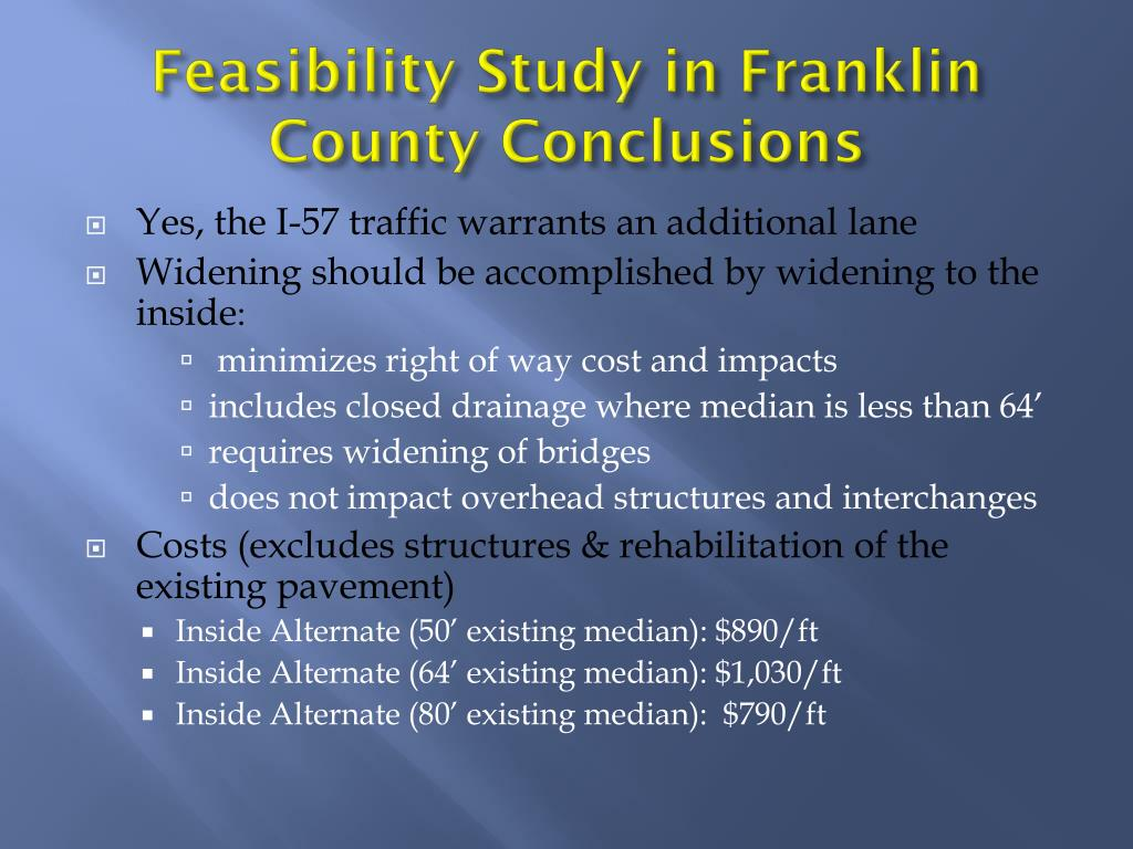Feasibility Study in Franklin County Conclusions