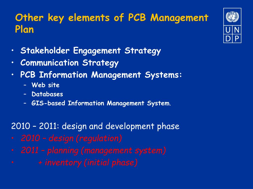 Other key elements of PCB Management Plan