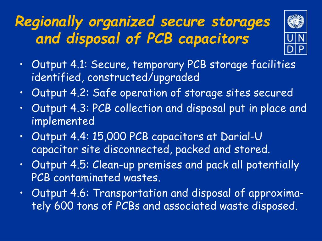 Regionally organized secure storages and disposal of PCB capacitors