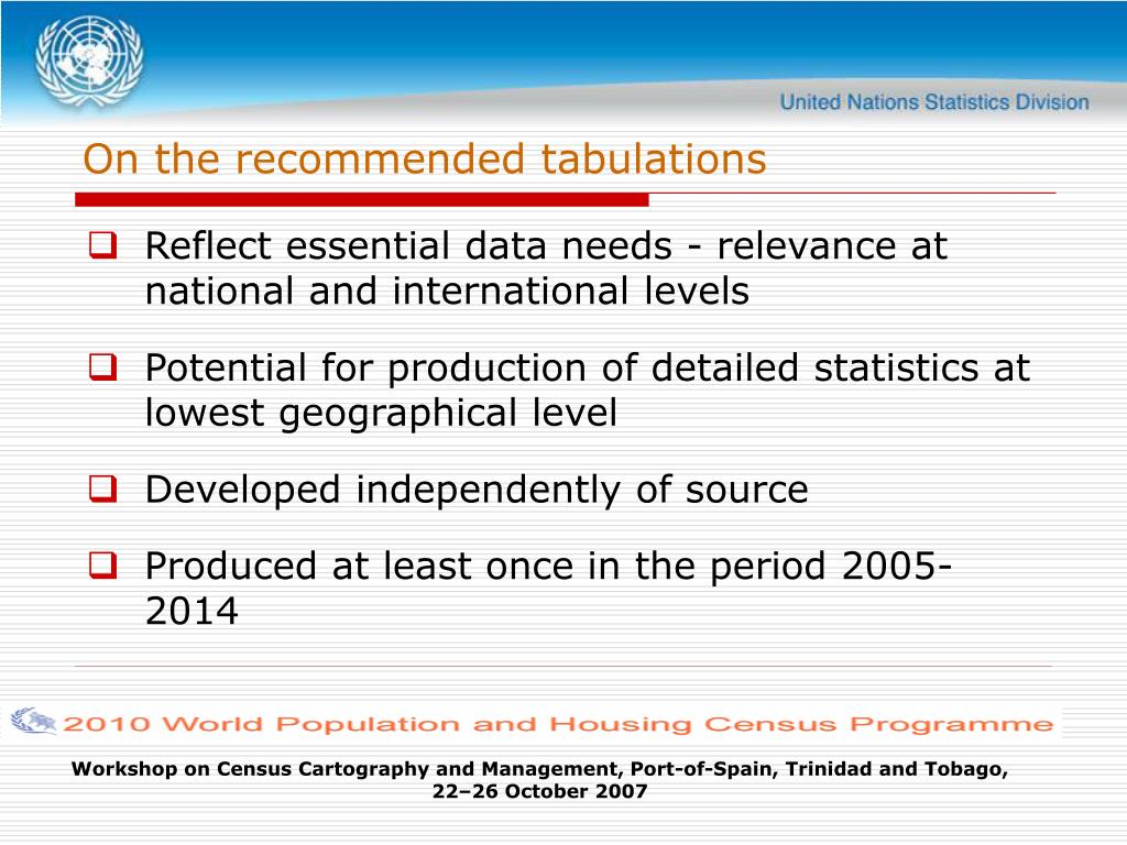 On the recommended tabulations
