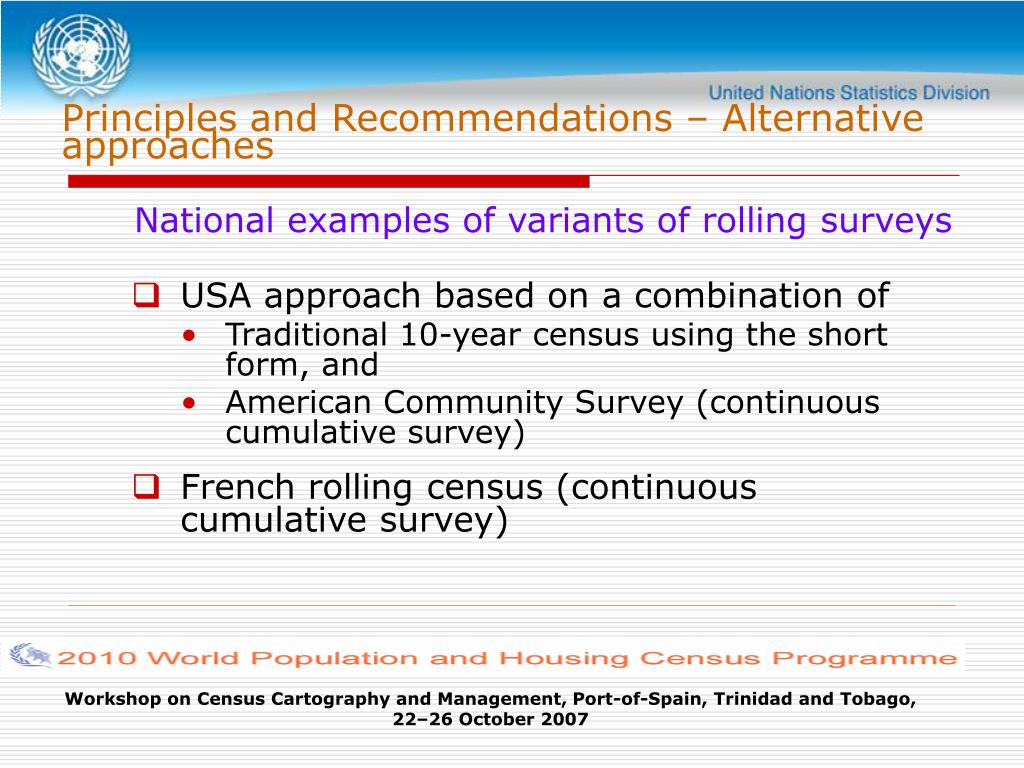Principles and Recommendations – Alternative approaches