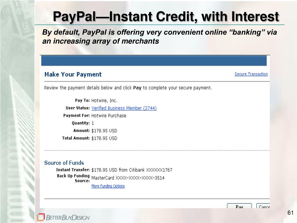 PayPal—Instant Credit, with Interest