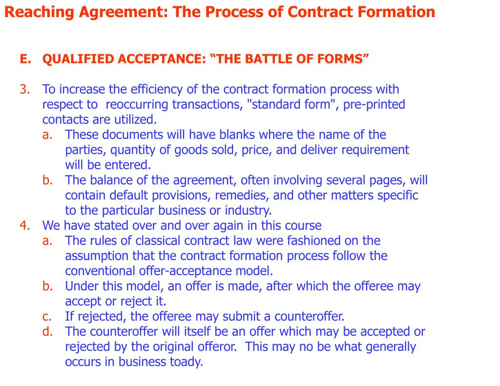the process of contract formation explaining Formation of the insurance contract original offer and will begin the whole process over liability of the insurer and not the formation of the contract.