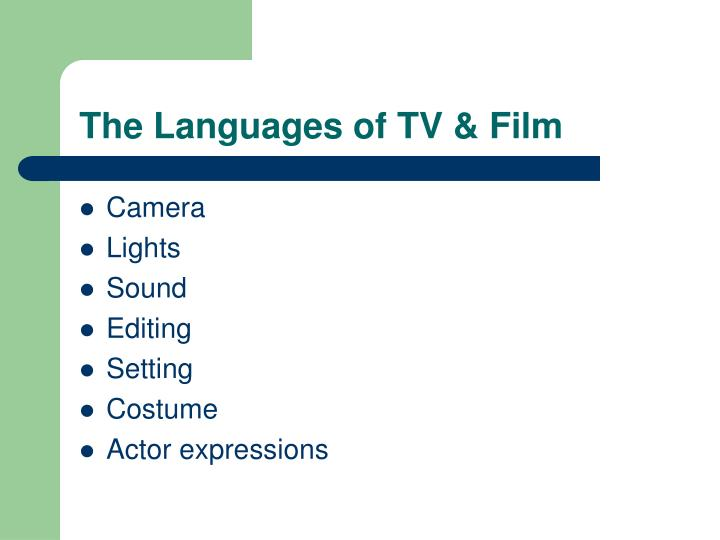 The languages of tv film