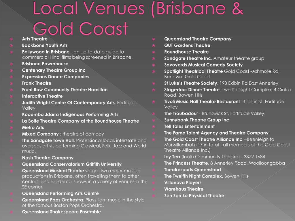 Local Venues (Brisbane & Gold Coast
