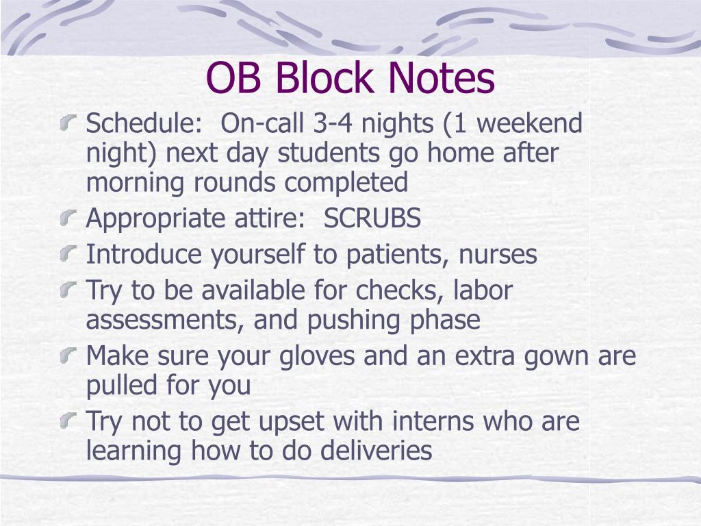 OB Block Notes