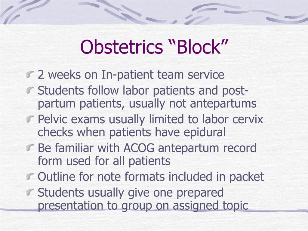 "Obstetrics ""Block"""