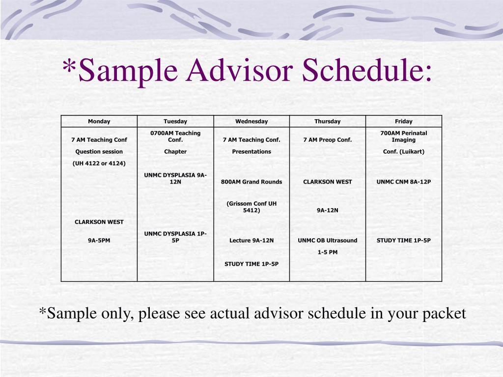 *Sample Advisor Schedule: