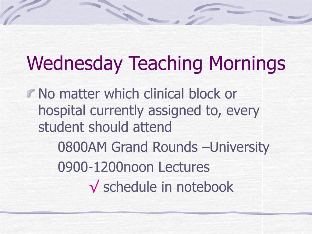 Wednesday Teaching Mornings