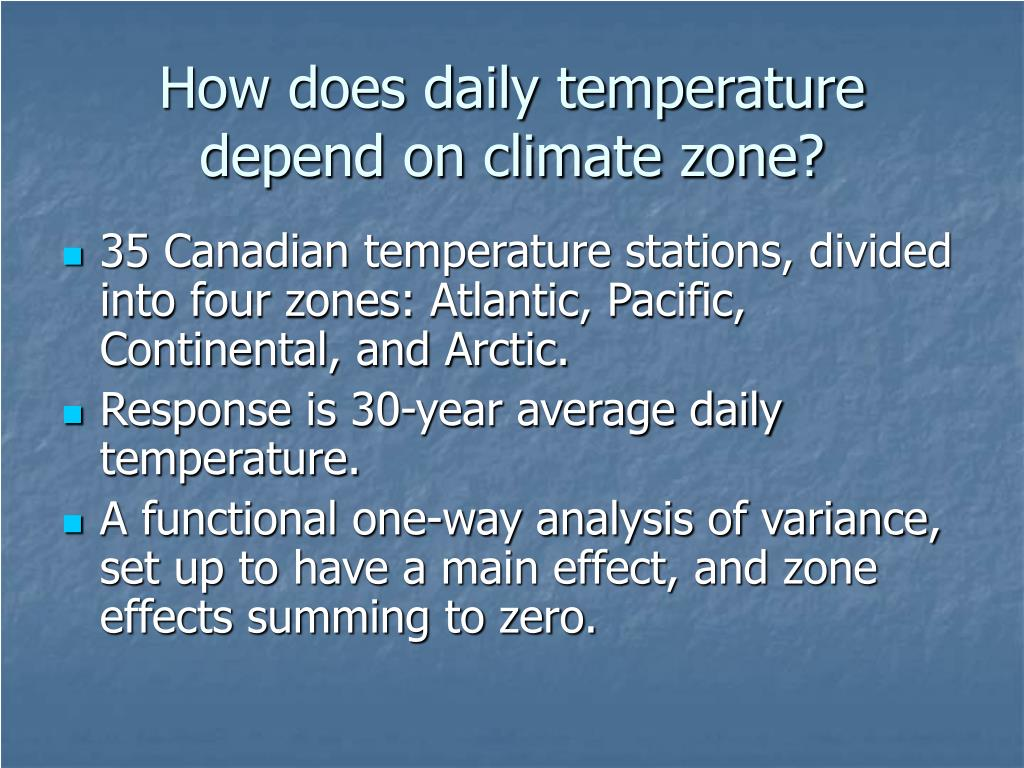 How does daily temperature depend on climate zone?
