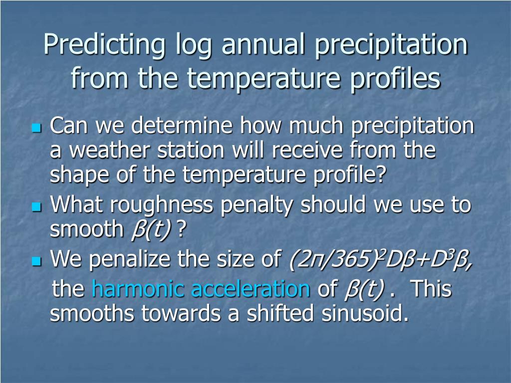 Predicting log annual precipitation from the temperature profiles