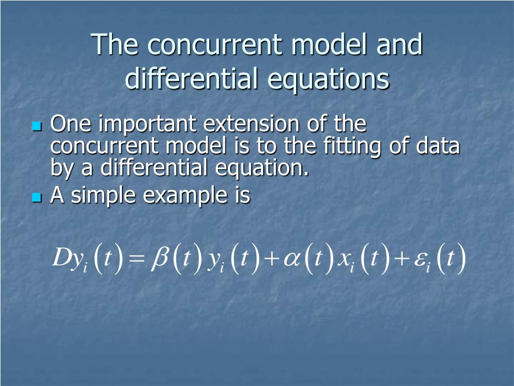 The concurrent model and differential equations