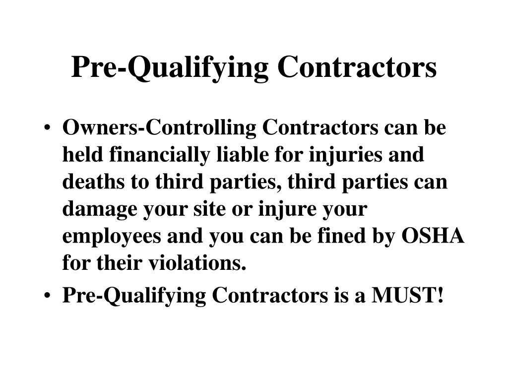 Pre-Qualifying Contractors