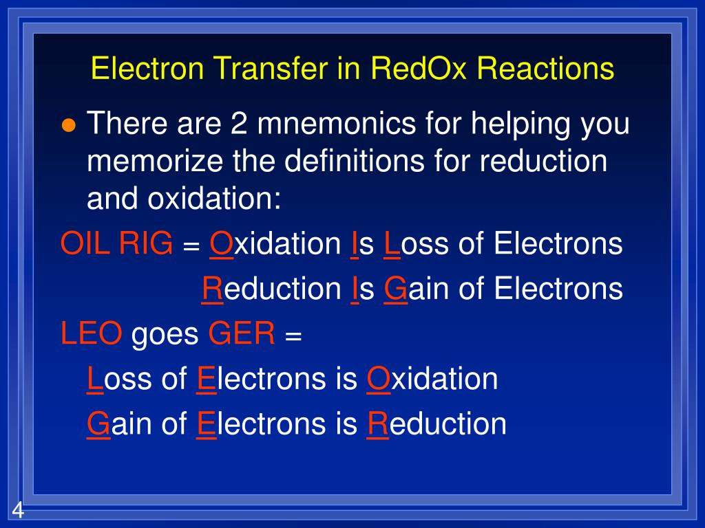 Electron Transfer in RedOx Reactions