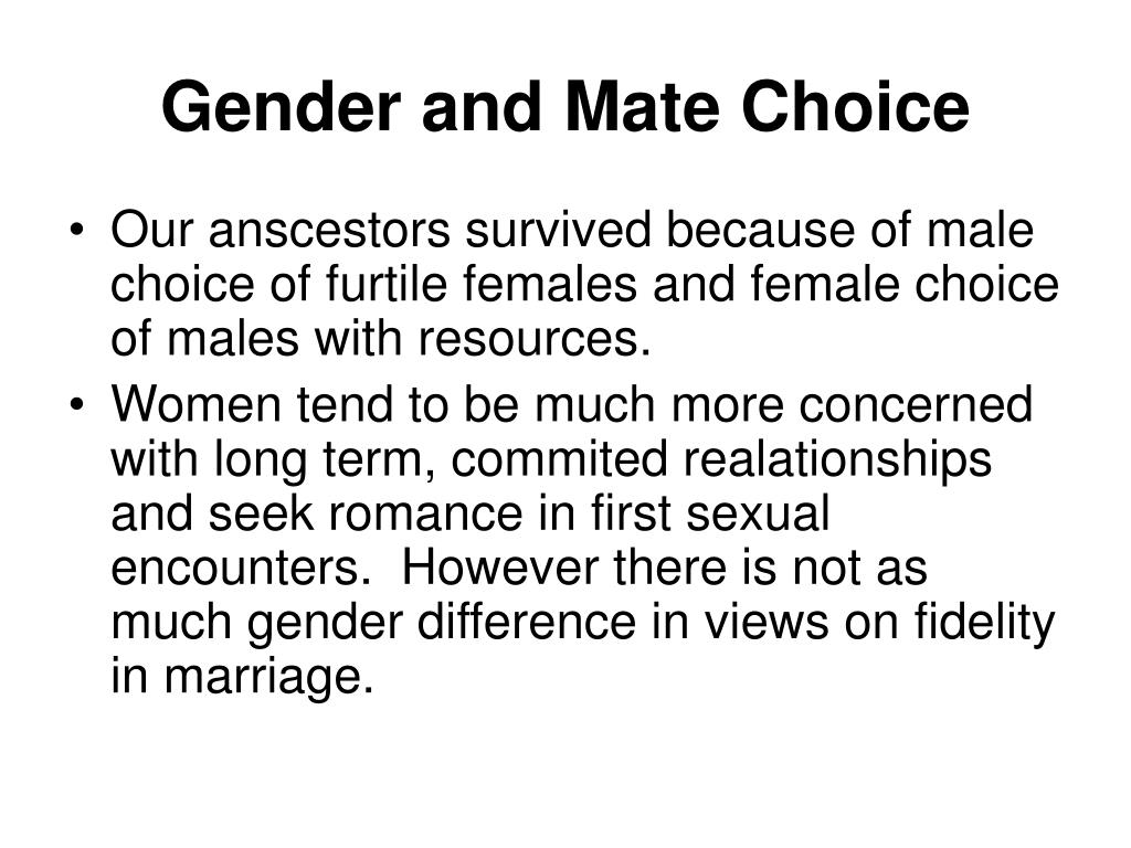 Gender and Mate Choice