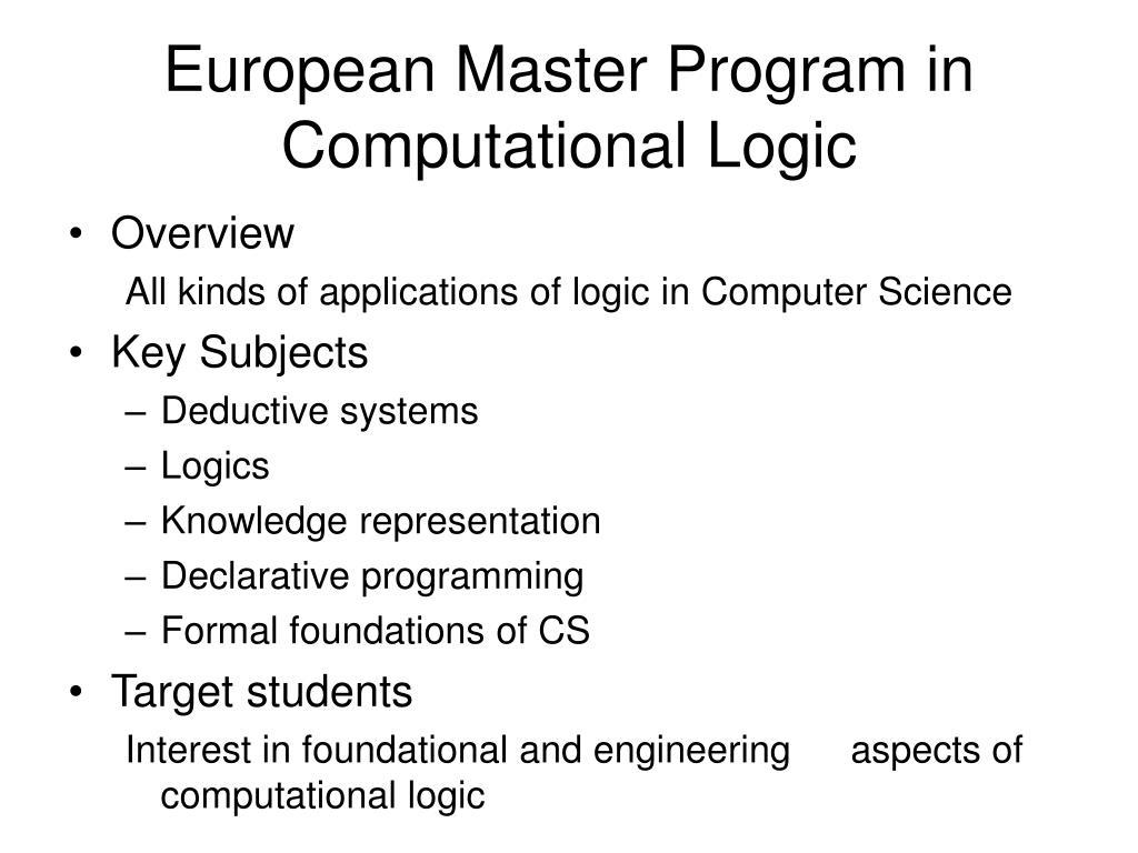 European Master Program in Computational Logic