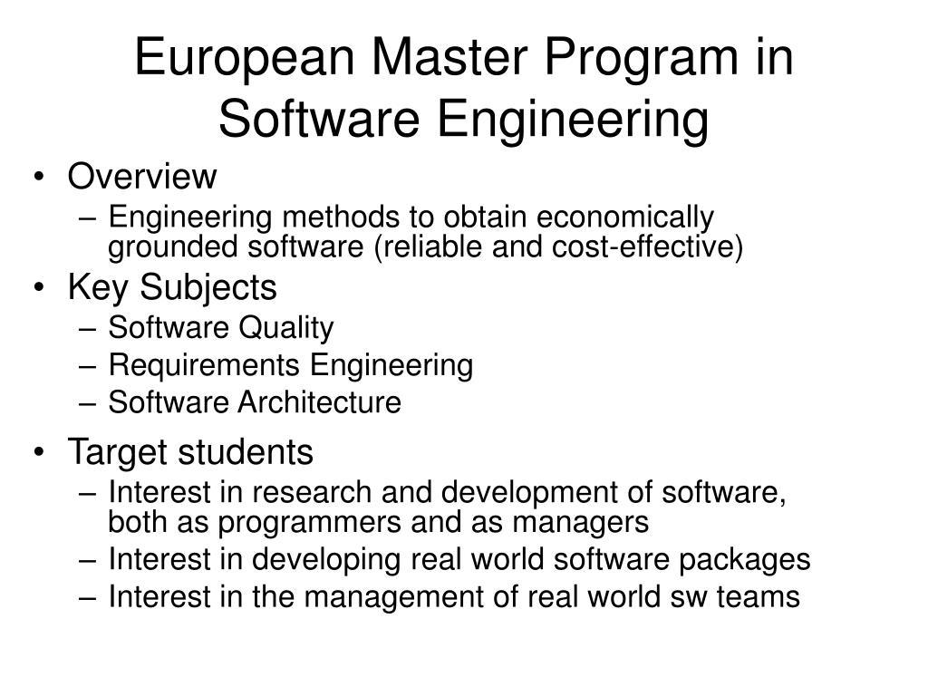 European Master Program in Software Engineering