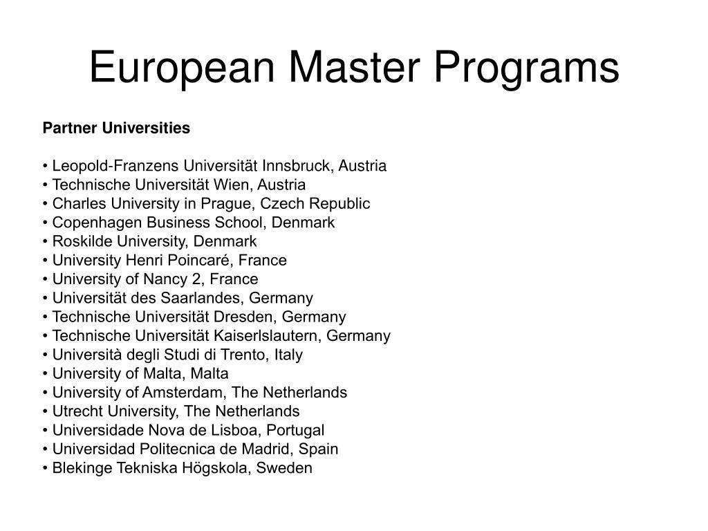 European Master Programs