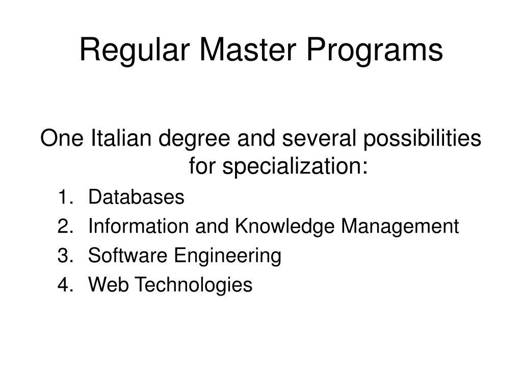 Regular Master Programs