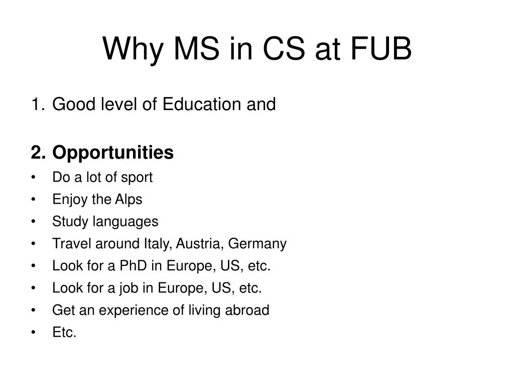 Why MS in CS at FUB