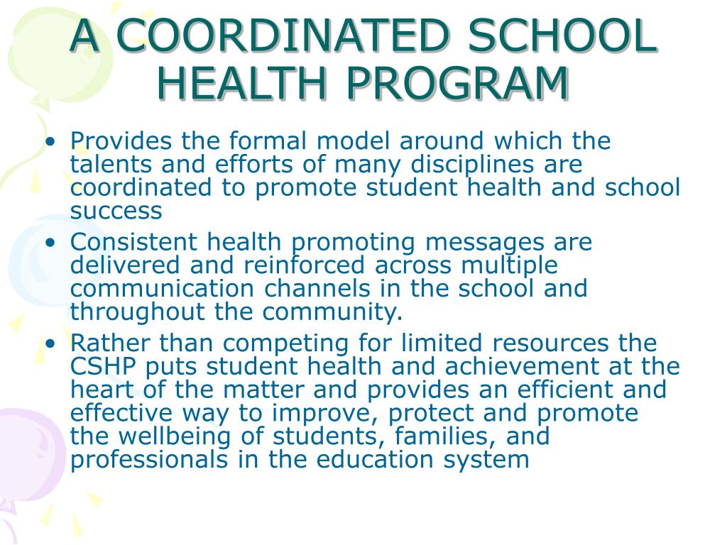 Provides the formal model around which the talents and efforts of many disciplines are coordinated to promote student health and school success